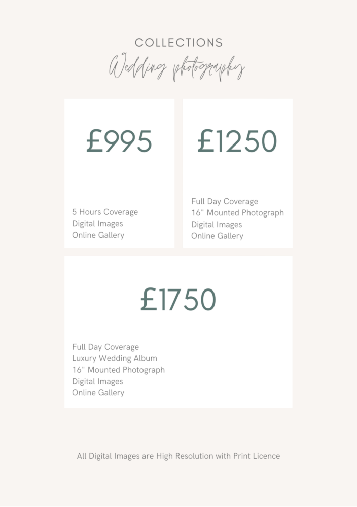 Jen Hart Wedding Photography pricing and package guide